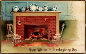 Ellen H Clapsaddle Thanksgiving~Black Pot Hangs in Fireplace~Chairs at Hearth