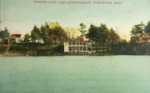 1908 Turner Club, Lake Quinsigamond, Worcester, Mass Old Vintage Postcard A23