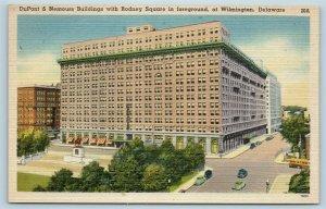 Postcard DE Wilmington DuPont & Nemours Buildings Rodney Square c1940s Linen T11