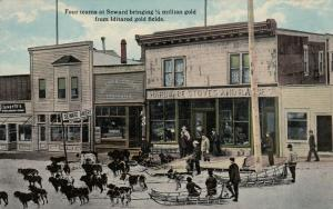 SEWARD , Alaska , 00-10s ; Dog Teams on Main Street , $1,000,000 gold brought in