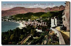 Old Postcard Menton Garavan and shooting d ela road Ventimiglia
