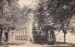 Corydon Iowa~High School~Close Up~Trees Shadow Door~1909 Real Photo~RPPC