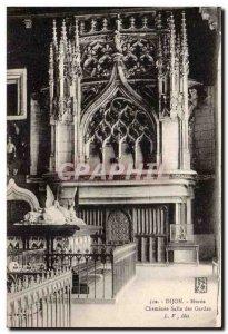 Old Postcard Dijon Museum Fireplace Guard Room