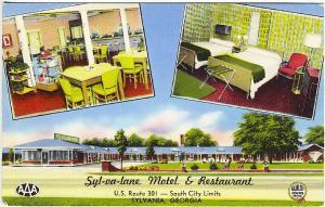Sylvania GA Syl-va-lane Motel Restaurant AAA Rated Multi-view Vintage Postcard