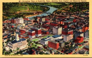 Tennessee Nashville Aeroplane View Showing State Capitol and Memorial Square ...