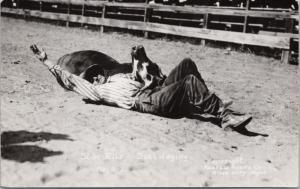 Slim Riley Rodeo Cowboy Miles City MT Montana Steer Foster RPPC Postcard E15