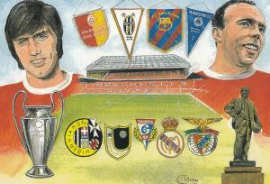 Manchester United 1998 European Champions Cup Painting Postcard
