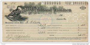 1917 Brotherhood of Railroad Trainmen official receipt order for secret work