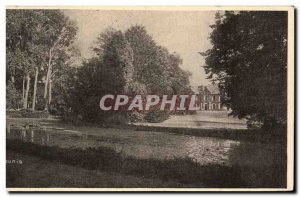 Old Postcard Chateau Haute Edges Rilly A view of the Park