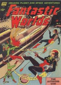 Fantastic Worlds 1950s Sci Fi Comic Book Asteroid God Rocket Postcard
