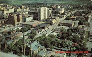 Lincoln Nebraska Bird's Eye View~Cars in Street-Church-Houses-Buildings~1950s Pc