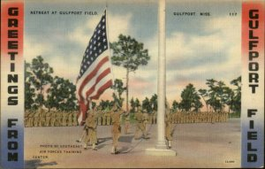 Gulfport MS Soldiers American Flag - Nice Linen Postcard