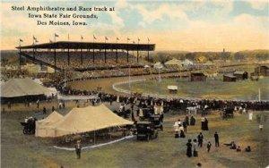 Steel Amphitheatre Race Track Iowa State Fair Des Moines, IA c1910s Postcard