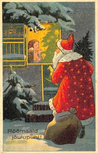 Red Suited Santa Claus Window Christmas Finland Postcard