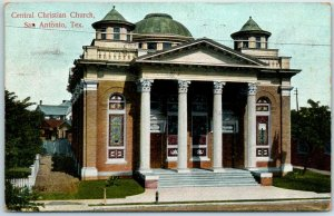 1908 San Antonio, Texas Postcard Central Christian Church Building View