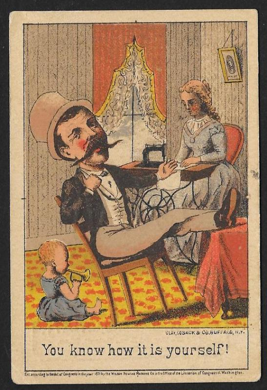 VICTORIAN TRADE CARD Wilson Sewing Machine Man Child & Lady Sewing c1871