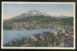 Switzerland Lucerne Postcard Vintage Luzern und Pilatus Alps