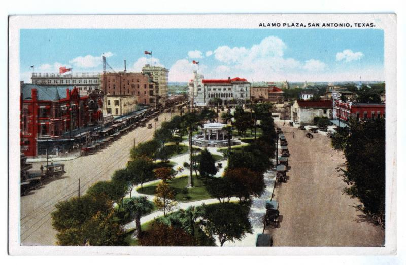 P1003 old card alamo plaza birds eye view san antonio texas