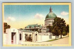 Annapolis MD-Maryland, Main Gate, US Naval Academy, Linen Postcard