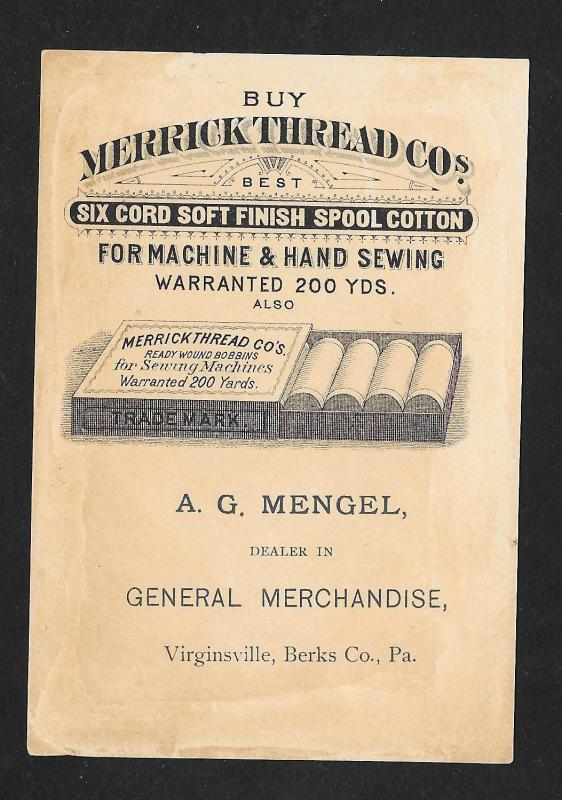 VICTORIAN TRADE CARD Merrick Thread Black Boys & Man in Tree
