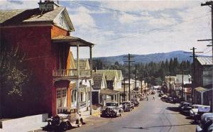 Nevada City California~Broad Street East~Classic Cars~1950s Postcard