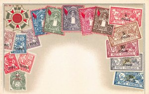 Zanzibar, Classic Stamp Images on Early Postcard, Published by Ottmar Zieher