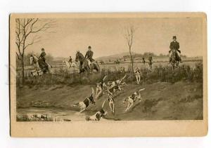 264089 HUNT Pointer Hounds HORSE by ROWLANDSON Vintage PC