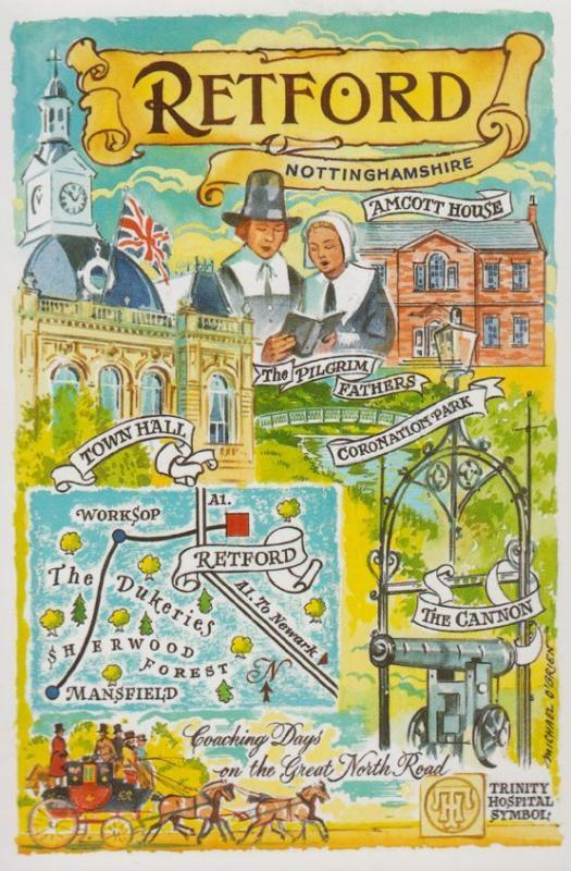 Nottingham Retford Amcott House Cannon Map Town Hall Postcard Fair Souvenir