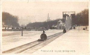 Winnipeg Canada Tobaggan Slide Winter Real Photo Postcard AA6682