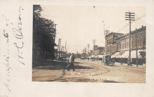 G24/ Owosso Michigan RPPC Postcard West Main St Store Delivery Wagon
