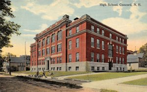 Concord New Hampshire~High School~Students on Lawn & Bicycles~Houses~1908 PC