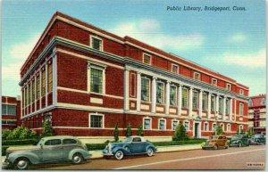 Bridgeport, Connecticut Postcard Public Library Building View Curteich Linen