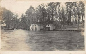 LPN46 Bridgeton New Jersey City Park Lake Boat House Cabin Postcard RPPC