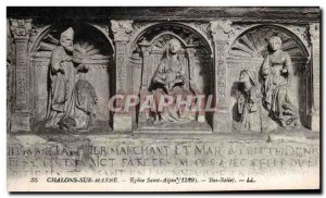 Old Postcard Chalons sur Marne Church St. Alpine Bas Relief