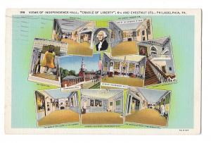 Independence Hall Philadelphia PA Small Multiviews Vintage Linen Postcard
