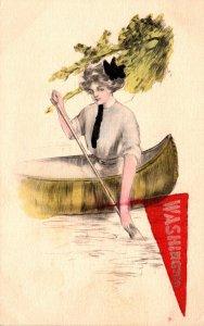 Washington Beautiful Girl In Canoe Pennant Series
