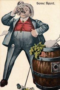 P1948 old postcard man & drink & barrel drinking unused