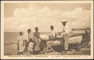 U.S. Virgin Islands, St. Croix, FREDERIKSTED, Fishermen on the Beach (1920s)