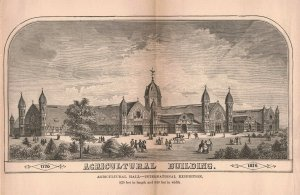1876 Victorian Agricultural Hall Philadelphia Fold-out Engraving 2T1-57