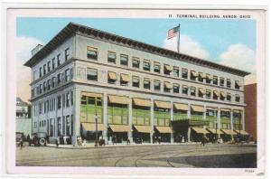 Terminal Building Akron Ohio 1920s postcard