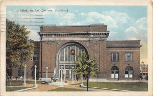 E47/ Denison Texas Tx Postcard 1924 Union Railroad Station Depot