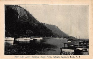 Shore Line Above Dyckman Street Ferry, Palisade Park, N.J., Early Postcard