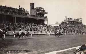 Ostende Belgium Horse Race Racing Les Courses Vintage Real Photo Postcard