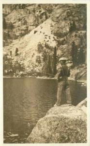 1920s Man fishing Rock Lake RPPC Photo Postcard 3358