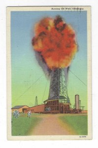 1944 Burning Oil Well, Oklahoma Linen Postcard