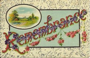 Purple Pansies Pansy and Pink Rose Garland Country Lane Scene Remembrance