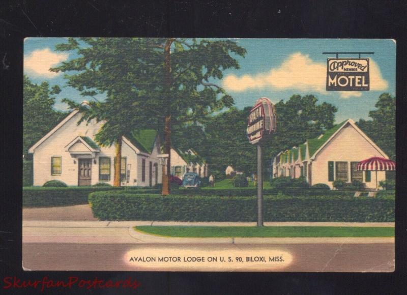 BILOXI MISSISSIPPI AVALON MOTOR LODGE MOTEL LINEN VINTAGE ADVERTISING POSTCARD