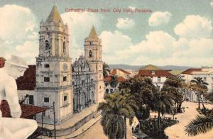 Panama Cathedral Plaza from City Hall Antique Postcard J46728