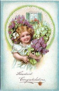 1907 Pretty Victorian Girl Heartiest Congratulation Germany Embossed Postcard IP