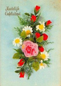 Hartelijk Gefeliciteerd Pink Rose Flowers Postcard